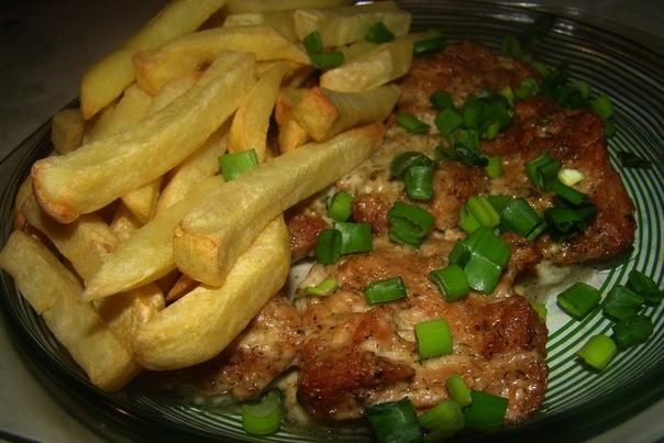 Картофель-фри и соевые стейки