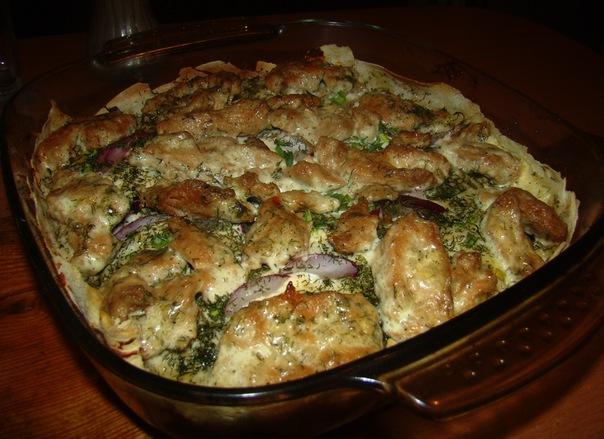 Запеканка с лавашом, грибами и соевыми стейками