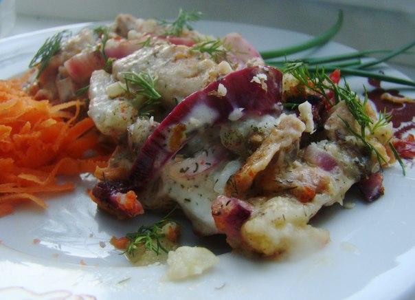 Картофельная запеканка с овощами и грибами