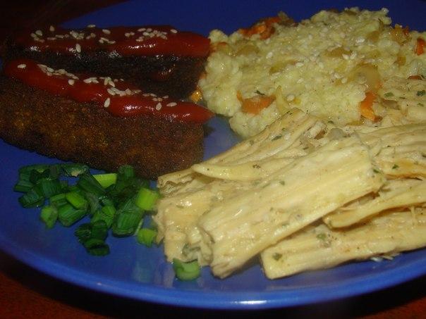 Соевые палочки и пшённая каша + салат из фучжу