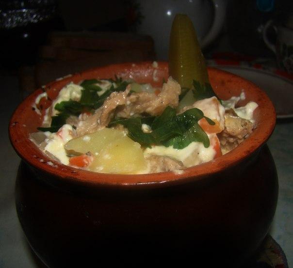 Горшочек с соей и картофелем