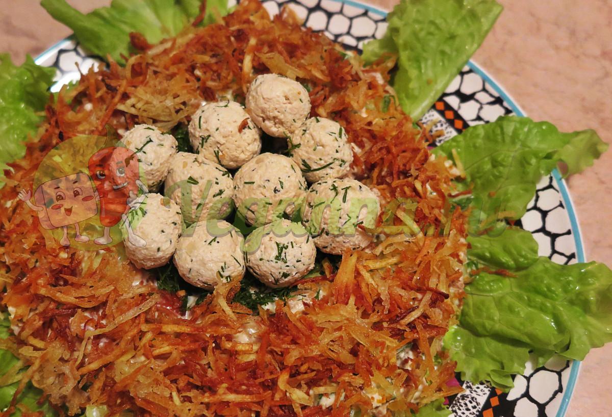 Веганский салат «Гнездо глухаря»