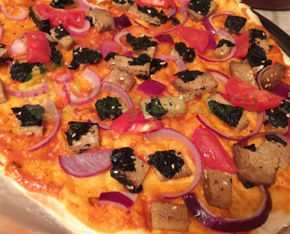 Веганская морская пицца на лаваше