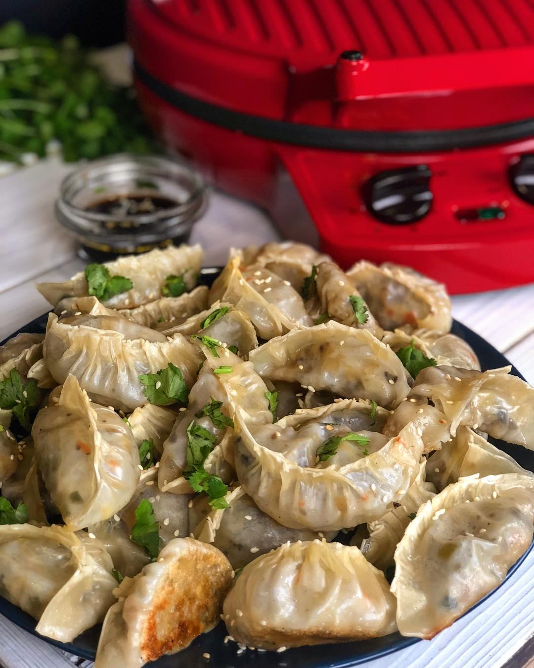 Пельмени гёдза с овощами и грибами